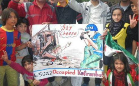 """Say Cheese"", from Occupied Kafranbel. Source: Kafranbel Facebook page."